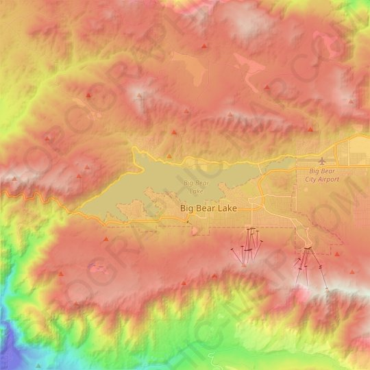 Big Bear Lake topographic map, elevation, relief