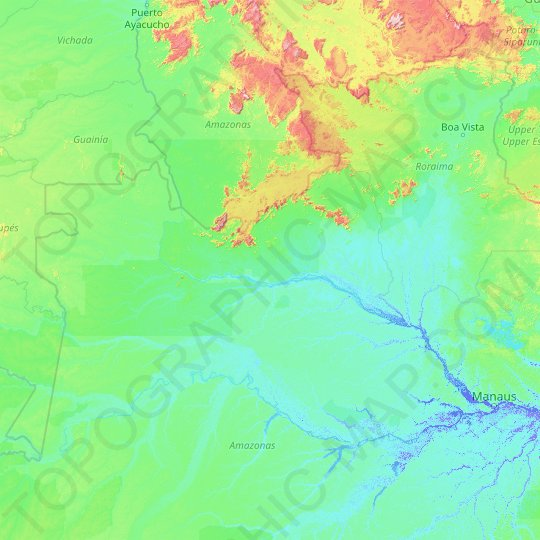 Black River topographic map, relief map, elevations map