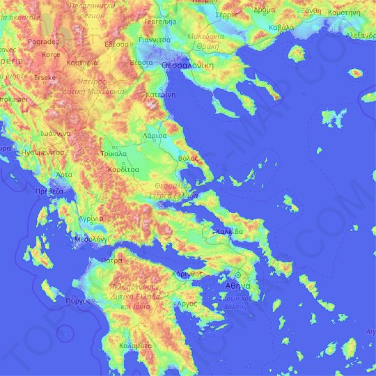 Thessaly Central Greece Topographic Map Elevation Relief