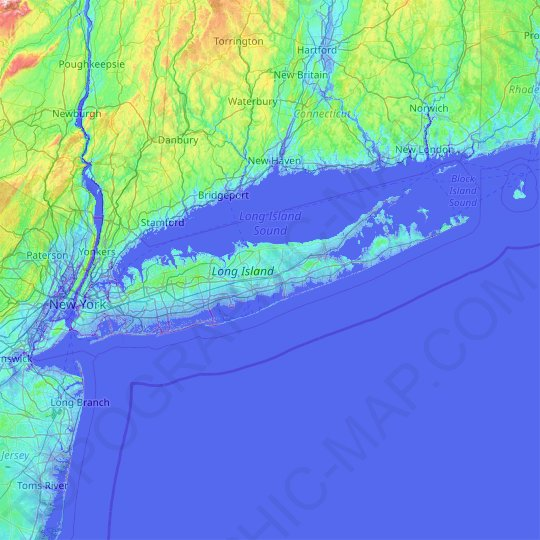 Long Island topographic map, elevation, relief