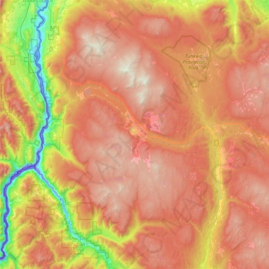Logan Lake topographic map, relief map, elevations map