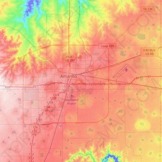 Amarillo topographic map, relief map, elevations map