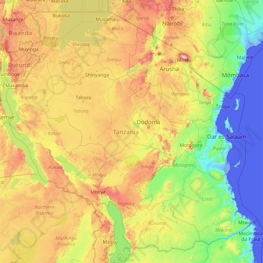 Tanzania topographic map, relief map, elevations map