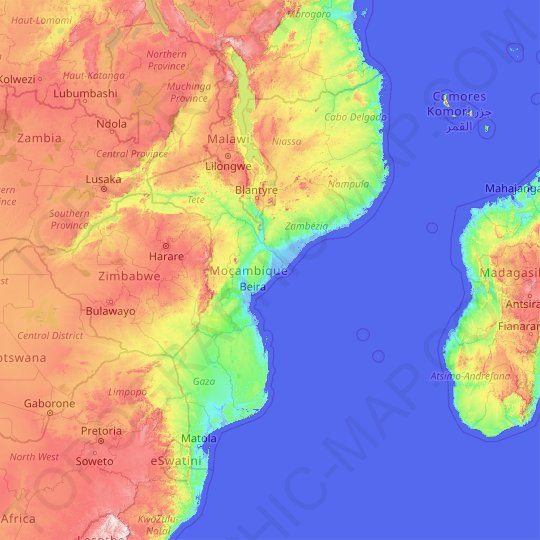 Mozambique topographic map, relief map, elevations map