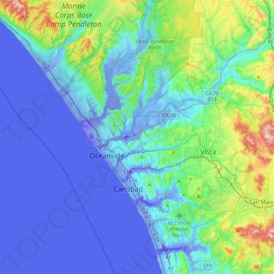 Oceanside topographic map, elevation, relief