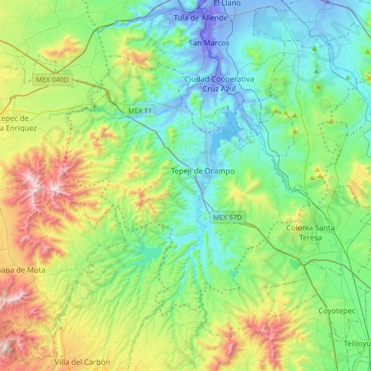 Tepeji del Río de Ocampo topographic map, relief map, elevations map
