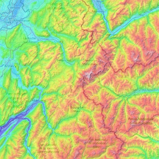 Mont Blanc massif topographic map, elevation, relief
