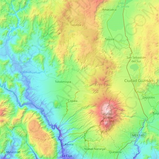 San Gabriel topographic map, relief map, elevations map