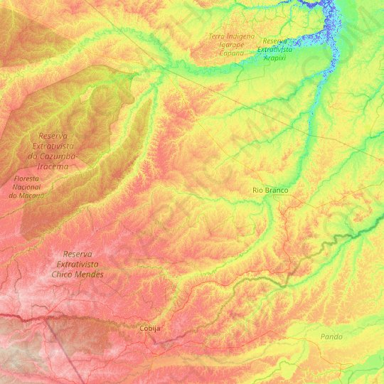 Rio Branco topographic map, relief map, elevations map