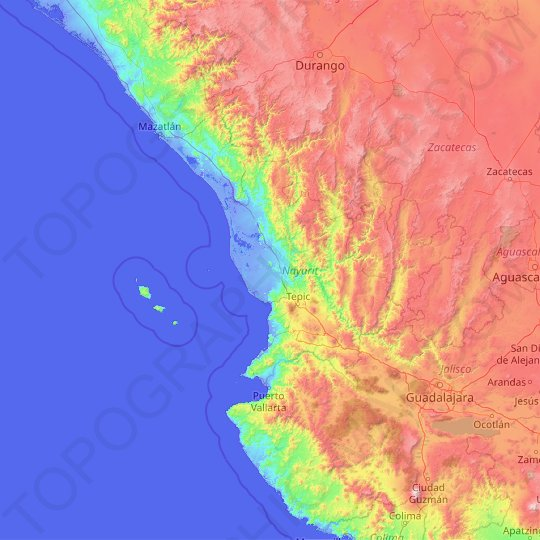 Nayarit topographic map, relief map, elevations map