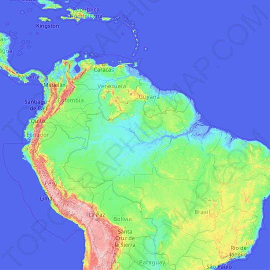 Amazon river topographic map, relief map, elevations map
