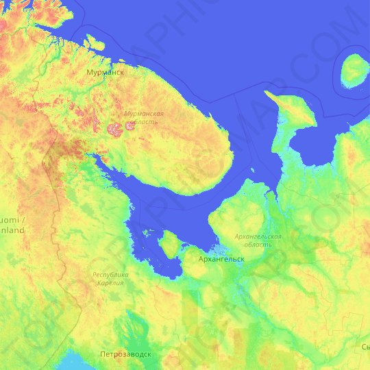 White Sea topographic map, elevation, relief