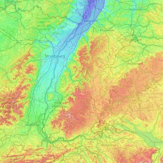 Black Forest topographic map, relief map, elevations map