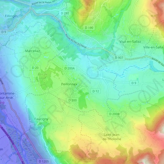 Peillonnex topographic map, relief map, elevations map