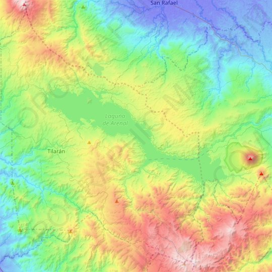 Lake Arenal topographic map, relief map, elevations map