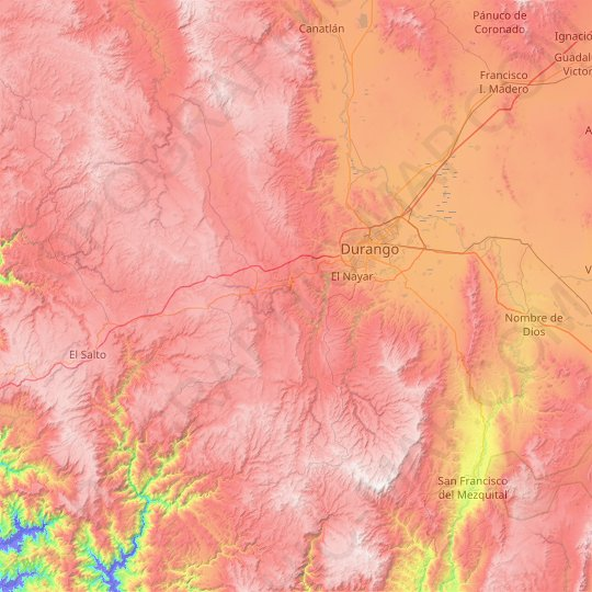 Durango topographic map, relief map, elevations map