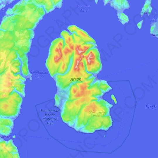 Arran topographic map, elevation, relief