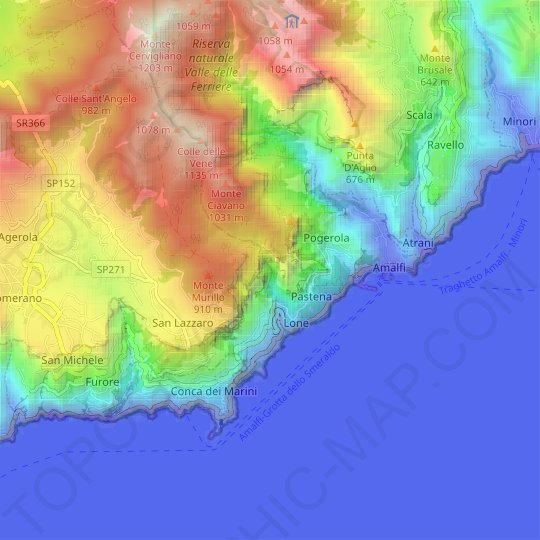 Amalfi topographic map, relief map, elevations map
