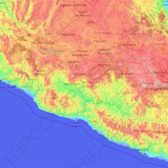 Michoacán topographic map, relief map, elevations map