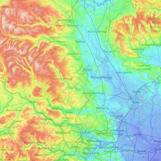 Harrogate topographic map, relief map, elevations map