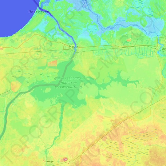 Narva Reservoir topographic map, relief map, elevations map