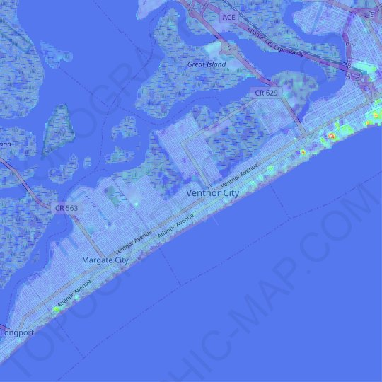 Ventnor City topographic map, relief map, elevations map