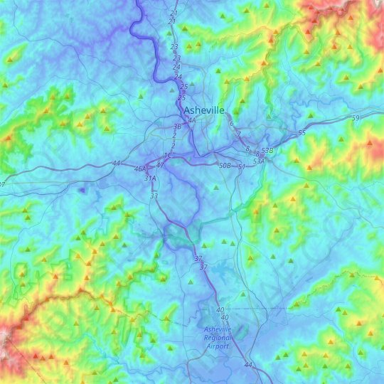 Asheville topographic map, relief map, elevations map