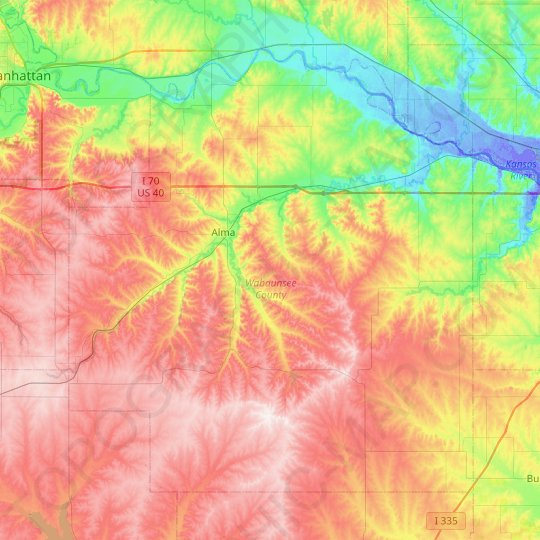 Wabaunsee County topographic map, elevation, relief