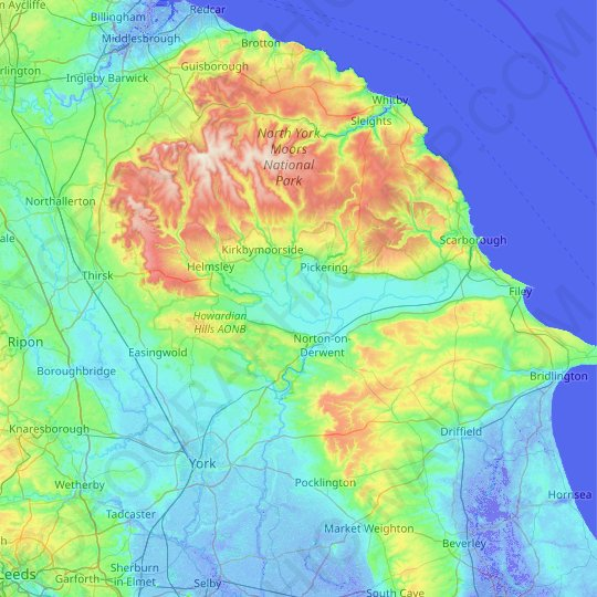 Ryedale topographic map, relief map, elevations map