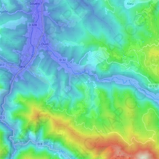 Oust topographic map, relief map, elevations map