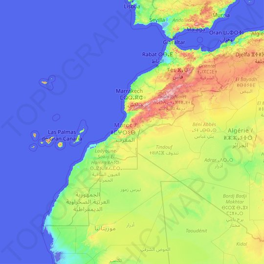 Morocco topographic map, relief map, elevations map