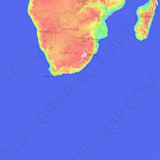 South Africa topographic map, relief map, elevations map