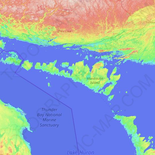 Manitoulin Island topographic map, relief map, elevations map