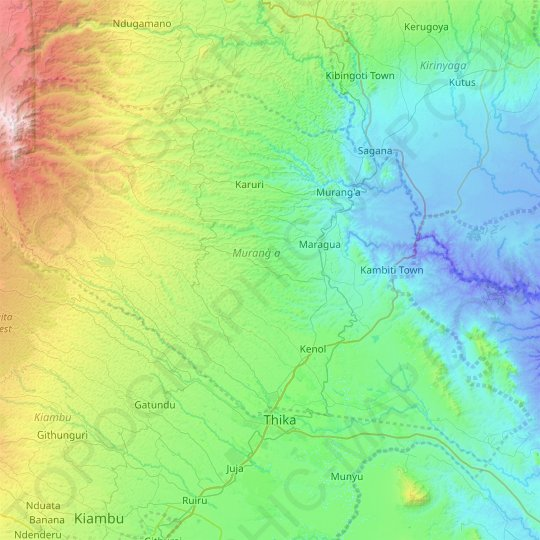 Murang`a topographic map, elevation, relief