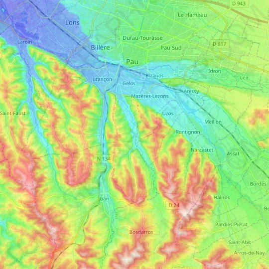 Gelos topographic map, relief map, elevations map