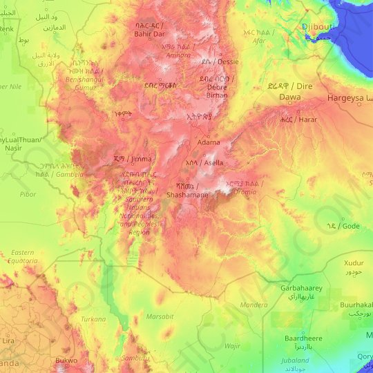 Oromia Region topographic map, relief map, elevations map