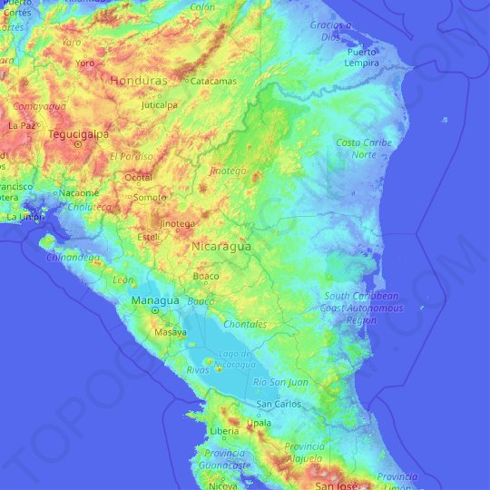 Nicaragua topographic map, relief map, elevations map on map of playa maderas nicaragua, map of san marcos nicaragua, map of waslala nicaragua, map of nandaime nicaragua, map of somoto nicaragua, map of camoapa nicaragua, map of granada nicaragua, map of big corn island nicaragua, map of el rama nicaragua, map of siuna nicaragua, map of ocotal nicaragua, map of managua nicaragua, map of san rafael del sur nicaragua, map of nueva guinea nicaragua, map of jalapa nicaragua,