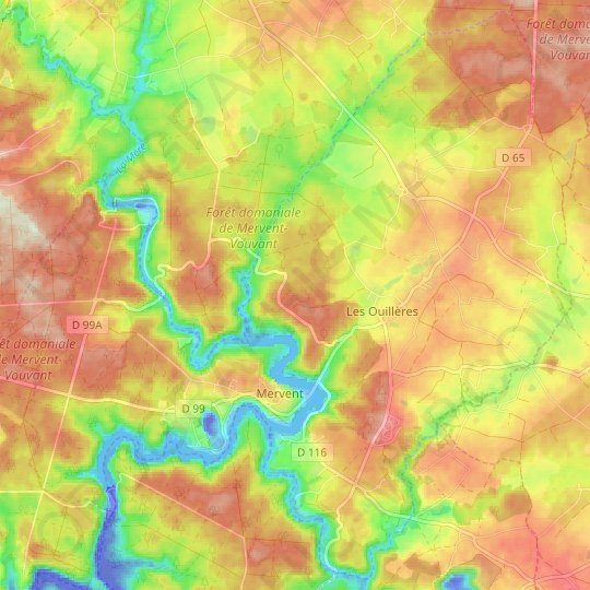 Mervent topographic map, relief map, elevations map