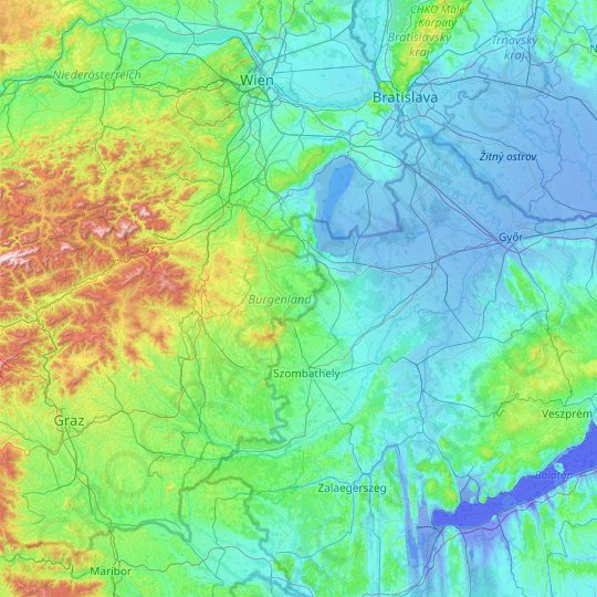 Burgenland topographic map, relief map, elevations map
