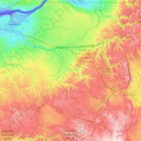 Umatilla County topographic map, relief map, elevations map