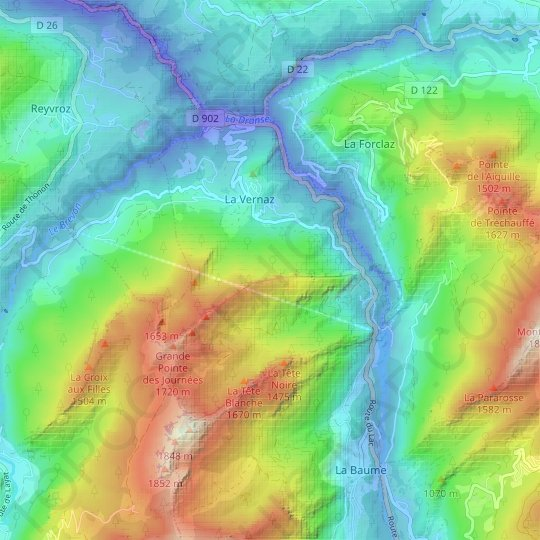 La Vernaz topographic map, relief map, elevations map