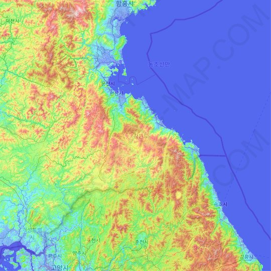 Kangwon-do topographic map, relief map, elevations map