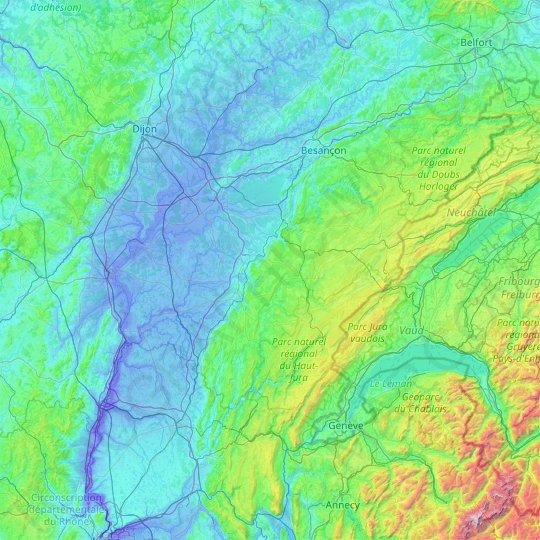 Jura topographic map, relief map, elevations map