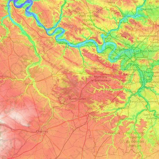 Yvelines topographic map, relief map, elevations map