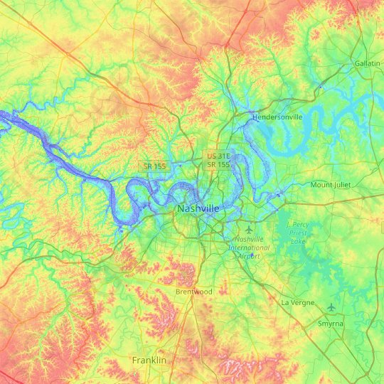 Nashville-Davidson topographic map, elevation, relief