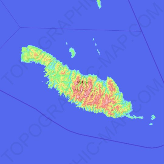 Makira topographic map, elevation, relief