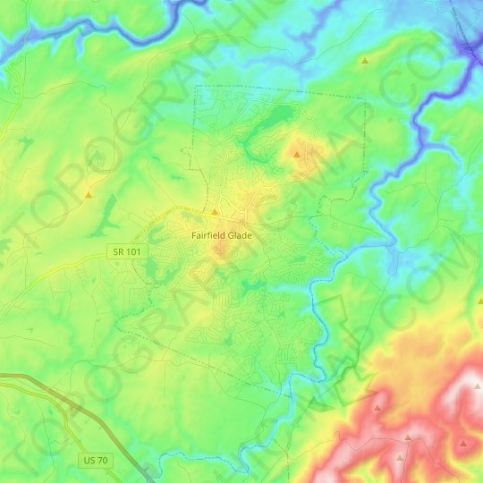 Fairfield Glade topographic map, elevation, relief