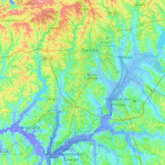Curitiba topographic map, relief map, elevations map