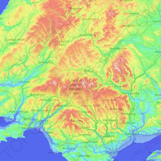 Brecon Beacons National Park topographic map, relief map ... on offa's dyke map, salisbury map, anglesey map, thames path map, mourne mountains map, cardiff map, isles of scilly map, belfast map, somerset map, lake district map, ceredigion map, cambrian mountains map, hemel hempstead map, dartmoor map, ebbw vale map, ben nevis map, great britain map, river severn map, big bend national park map,