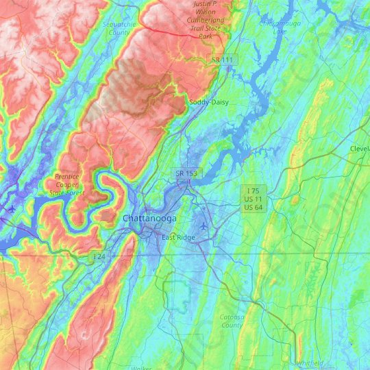 Chattanooga topographic map, relief map, elevations map